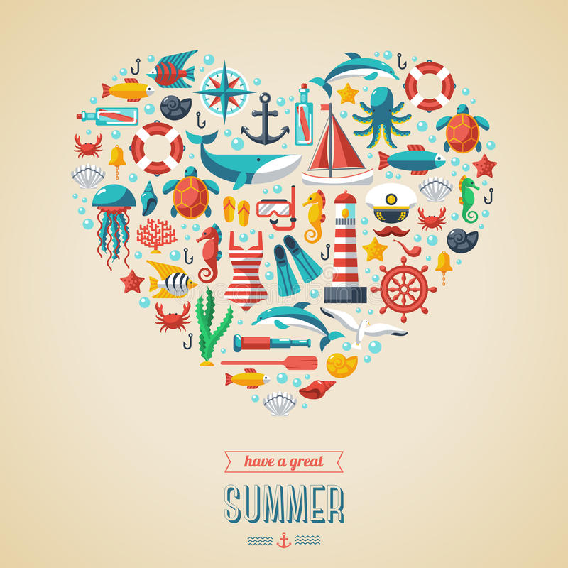 Free Summer Concept. Flat Icons Arrange In The Form Of Royalty Free Stock Photography - 45822447