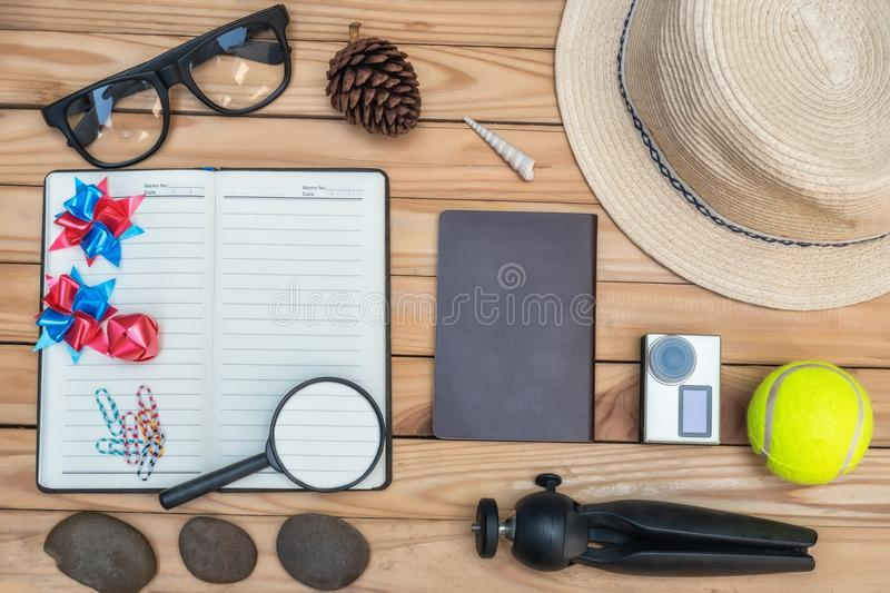 Summer concept flat lay styles on top view with free space for t royalty free stock photo