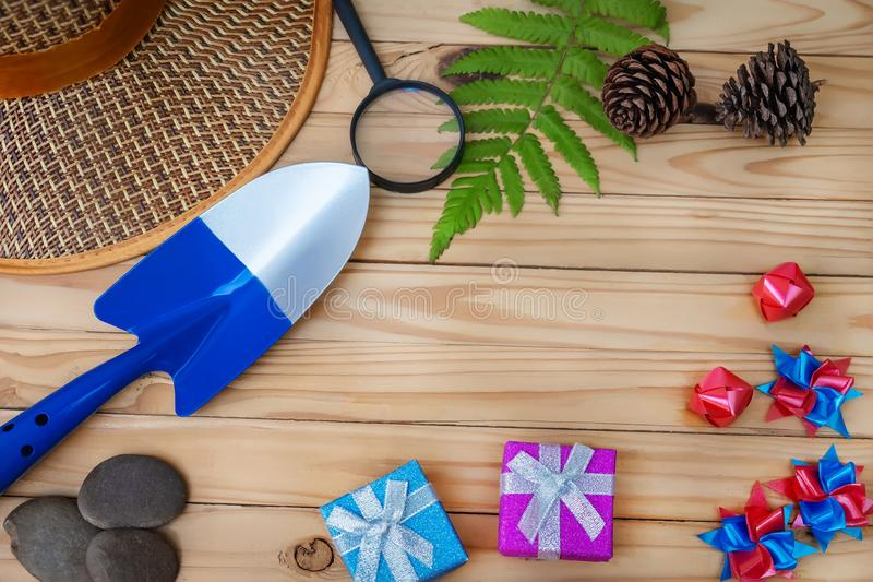 Summer concept flat lay styles on top view with free space for t. Ext royalty free stock photo