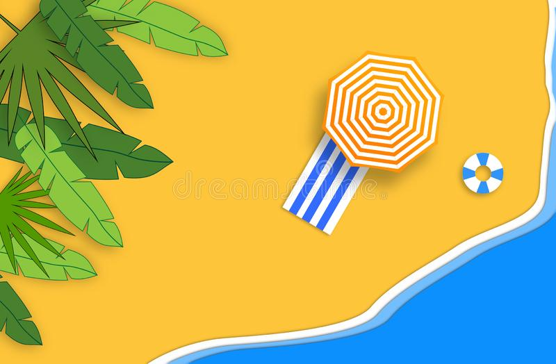 Summer concept. Gold sandy beach, sea and relax places. Handmade, paper composition. stock illustration