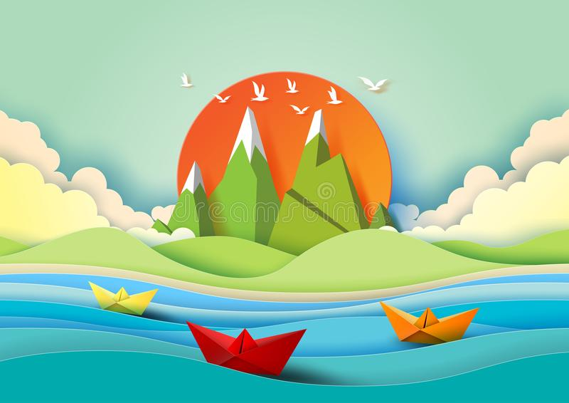 Summer concept with island, beach and sailboats paper art style. vector illustration