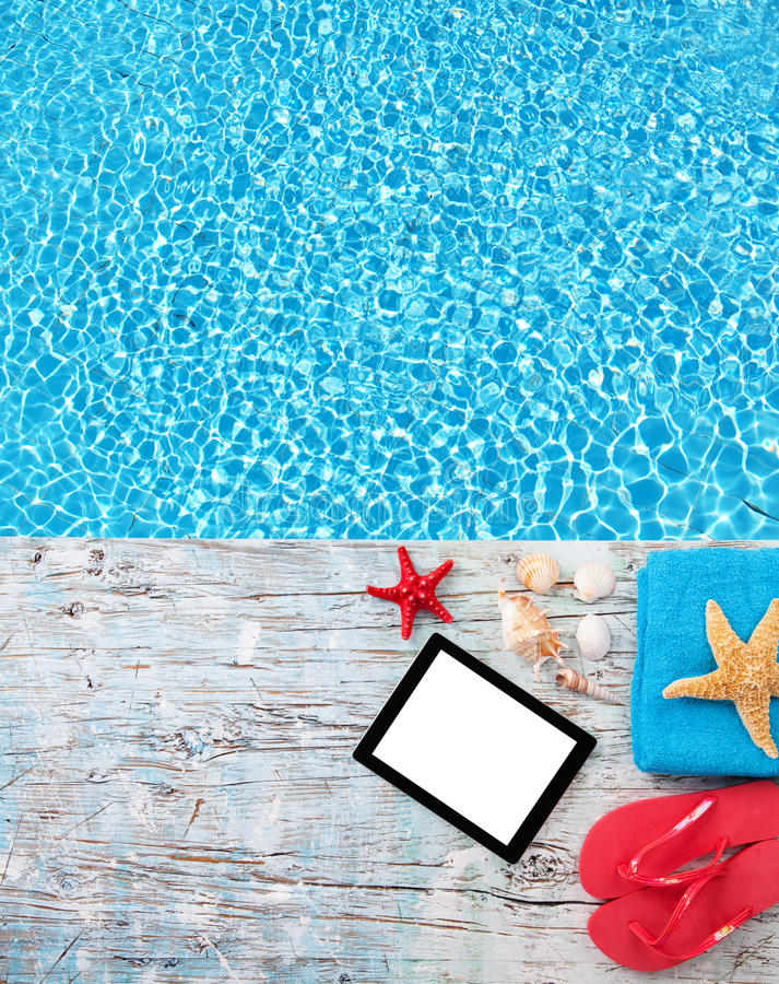 Free Summer Concept With Tablet And Accessories Stock Image - 54515511