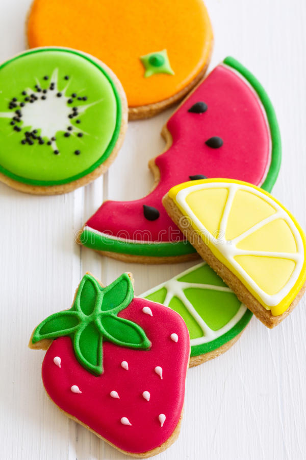 Summer cookies. Decorated cookies with a summer theme royalty free stock photography