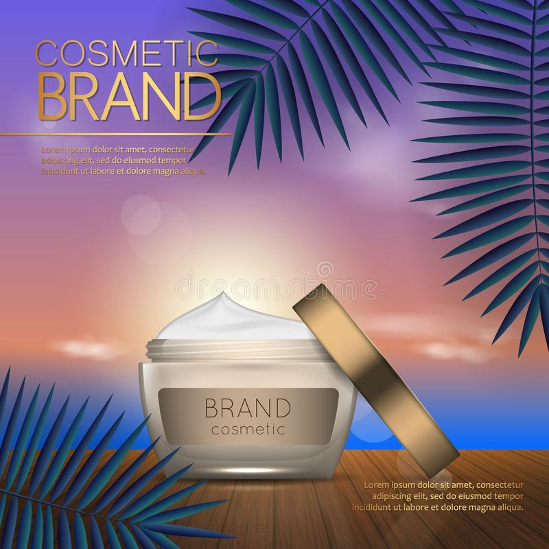 Summer cosmetic template on the sunset beach with exotic palm leaves background. Realistic 3D design. Summer cosmetic template on the sunset beach with exotic royalty free illustration
