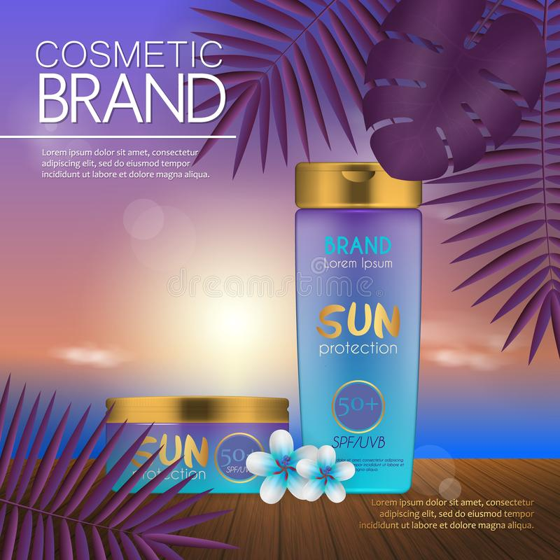 Summer cosmetic template on the sunset beach with exotic palm leaves background. Realistic 3D design. Summer cosmetic template on the sunset beach with exotic stock illustration