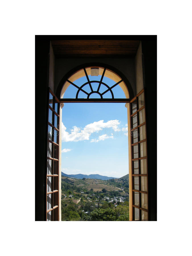 Summer country in Serbia. Summer landscape in serbian countryside close to bosnian border with sun in the apex through a window royalty free stock photo