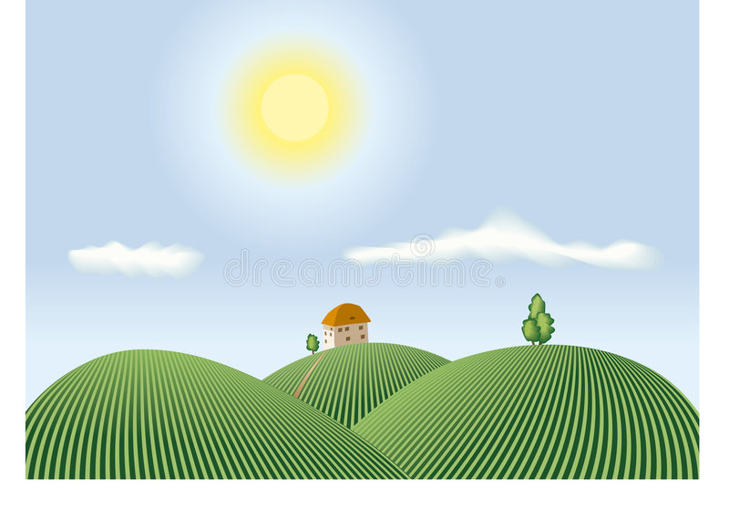 Download Summer countryside view stock vector. Illustration of meadow - 4006920