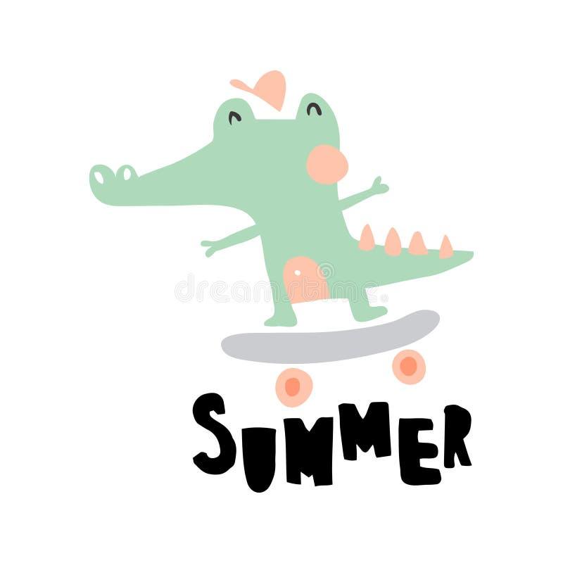 Summer crocodile royalty free illustration