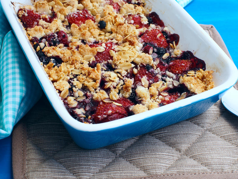 Summer crumbles with berries stock image