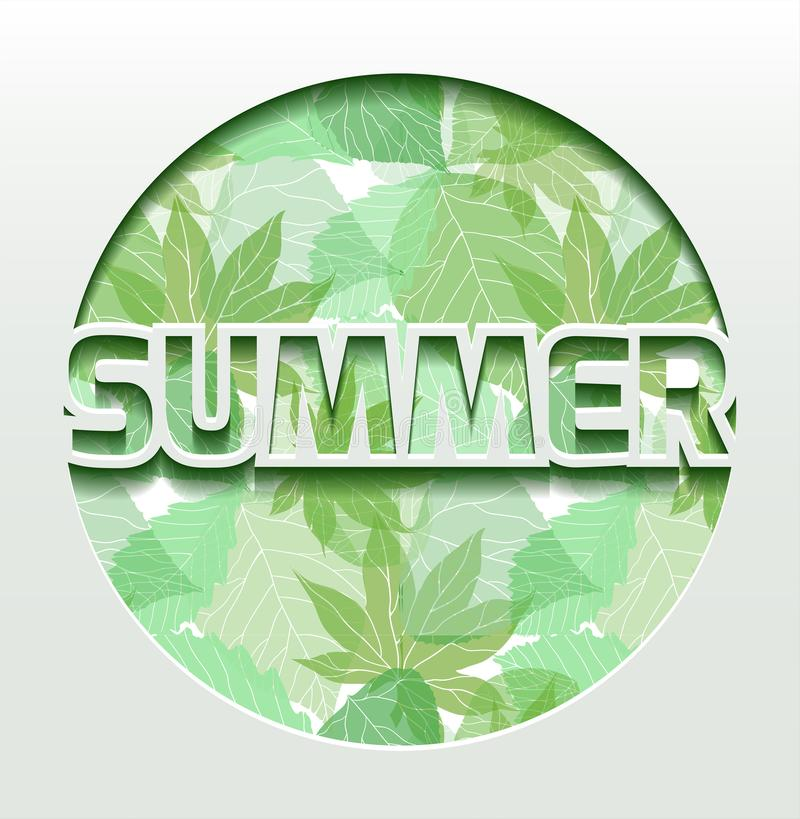 Summer 3d greeting card with green leaves. Versatile card from paper royalty free illustration