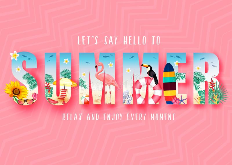 Summer 3D Realistic Stylish Modern Design Banner in Pink Patterned Background with Clipped Tropical Elements like Palm Trees royalty free illustration