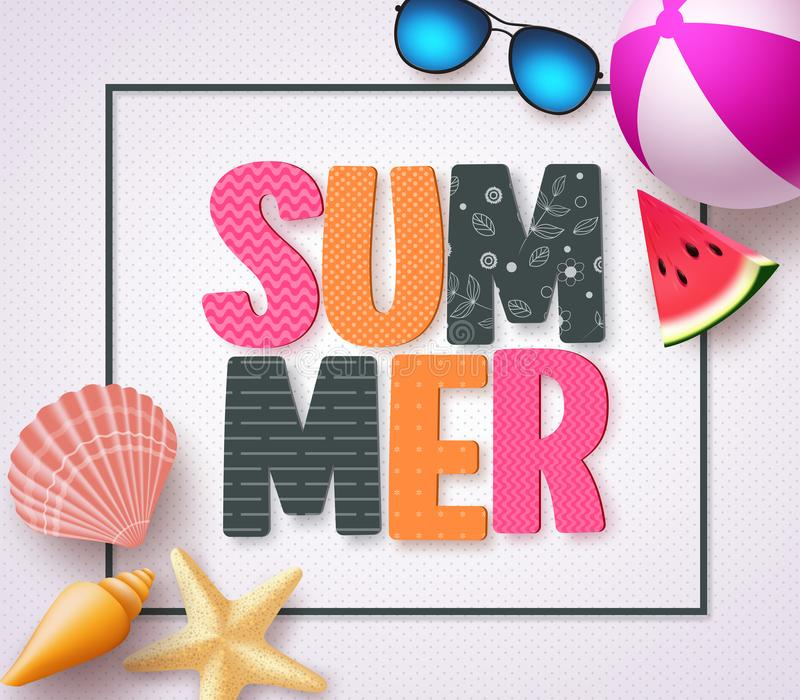 Summer 3D text banner design with colorful patterns and summer beach holiday elements. In a white texture background and boarder. Vector illustration stock illustration