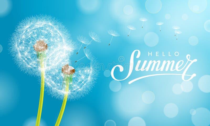 Summer dandelion Blue vector illustration