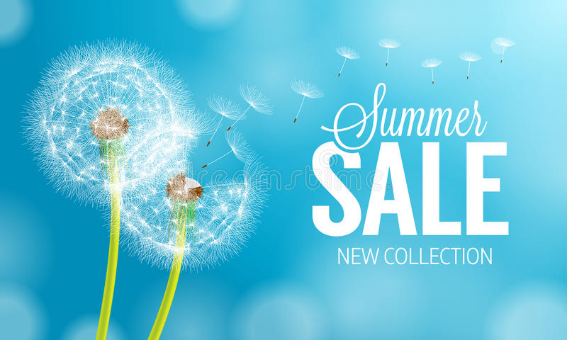 Summer dandelion Sale royalty free illustration