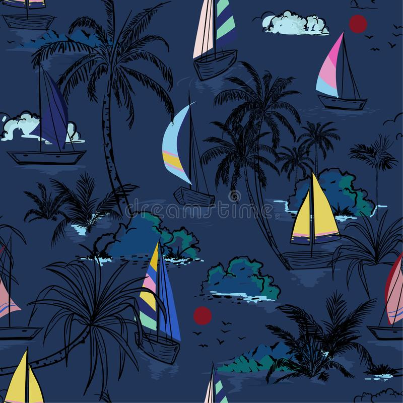 Summer dark night Beautiful seamless pattern island with colorful boat and wind surf . Landscape with palm trees,beach and ocean. Vector on hand drawn sketch on royalty free illustration