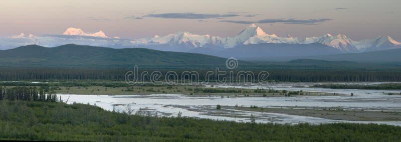Summer dawn panorama royalty free stock image