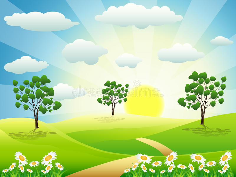 Download Summer day stock vector. Image of idyllic, plain, morning - 18938774