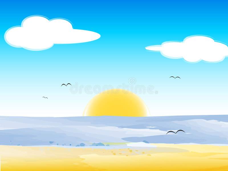 Summer day. Abstract landscape in a summer day stock illustration