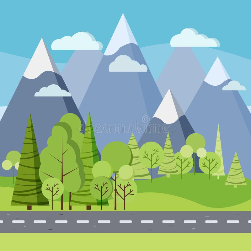 Summer day background: country road in green field with trees and mountains vector illustration