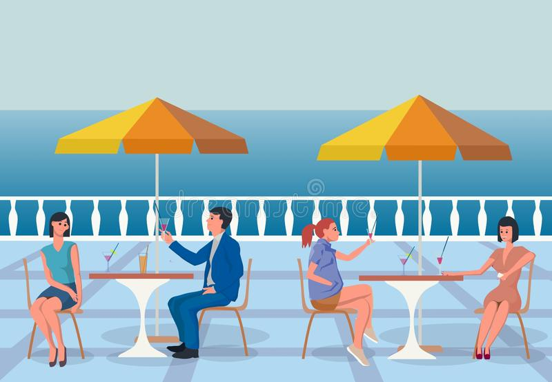 Summer day. Cafe by the sea. Flat illustration. Summer day. Cafe by the sea. Men and women sit at tables and drink cocktails. Good mood, pleasant acquaintance vector illustration