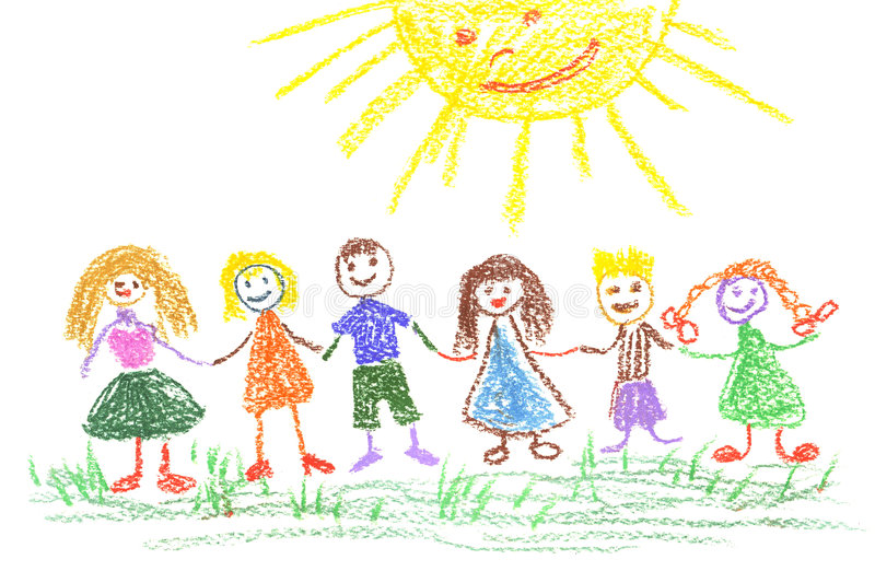 Summer day, child's drawing stock illustration