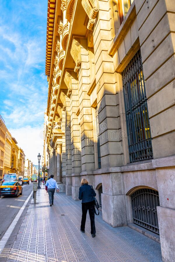 Summer Day On City Streets Of Barcelona, Spain Editorial ...