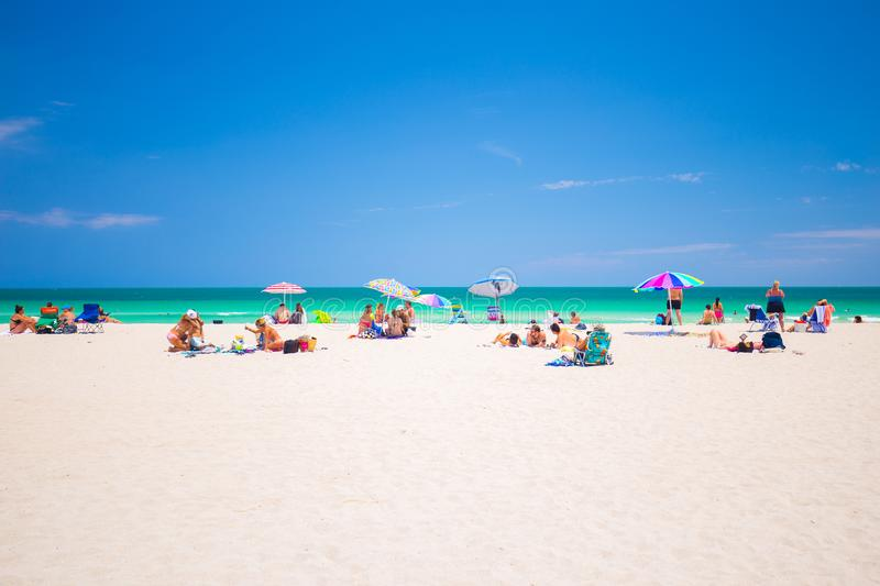 Colorful atlantic ocean, South Beach, Miami Beach, Florida, USA. royalty free stock images