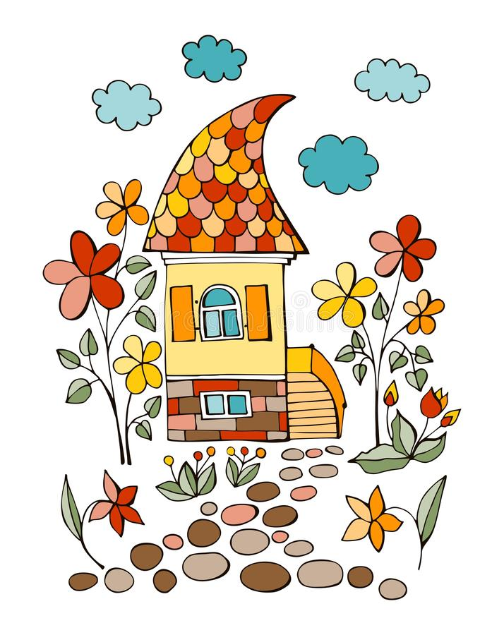 Summer day in fairy village. Colorful drawing of cute house and road to it surrounded by flowers.  royalty free illustration