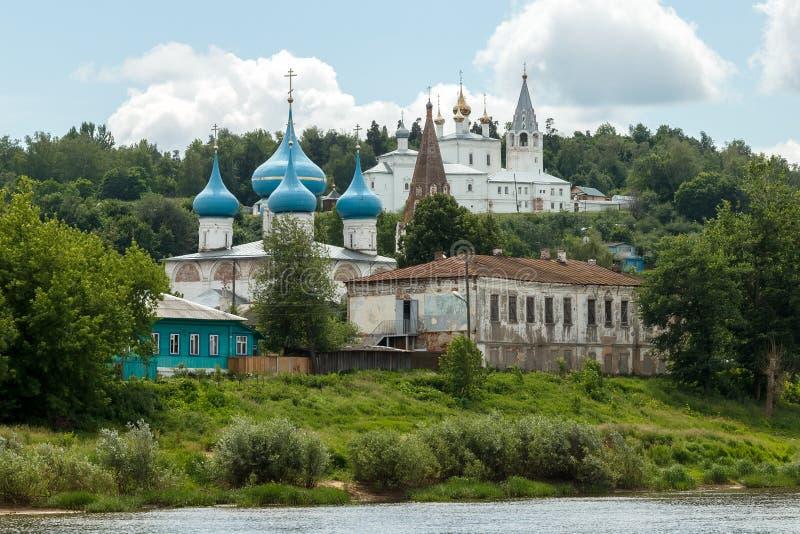 Summer day in Gorokhovets. River bank Klyazma stock photo