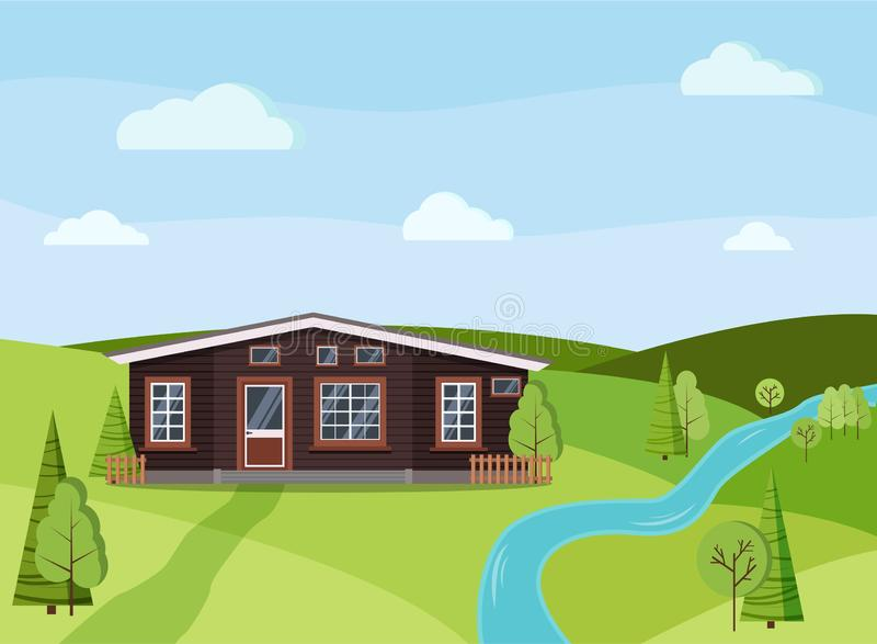 Summer day landscape nature background with wooden country rural farm house stock illustration