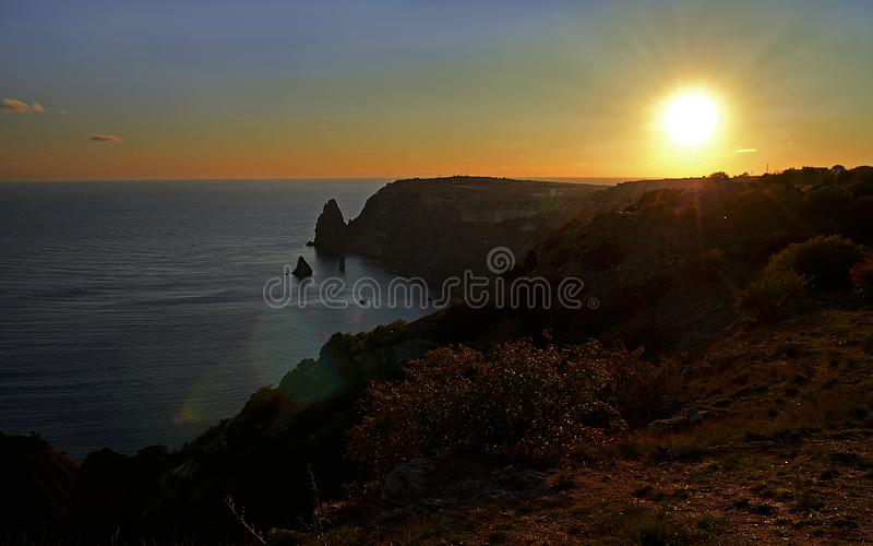 Summer day landscape with the sea and mountains. Ukraine, Republic of Crimea royalty free stock image