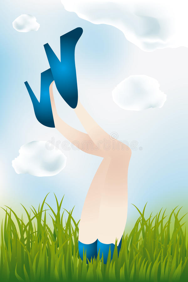 Summer day - legs of the girl. Legs of a girl lying in meadow, in blue high heels and hot pants - eps 10 vectors royalty free illustration