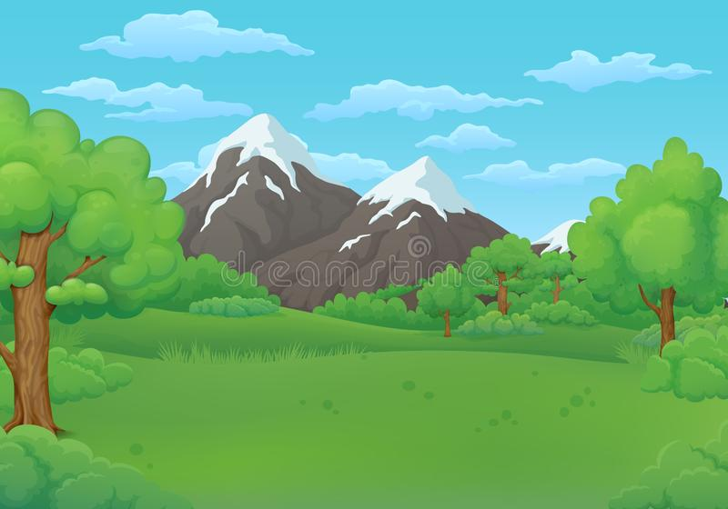 Summer day meadows with lush green trees and bushes. Snowy mountains in the background. royalty free illustration