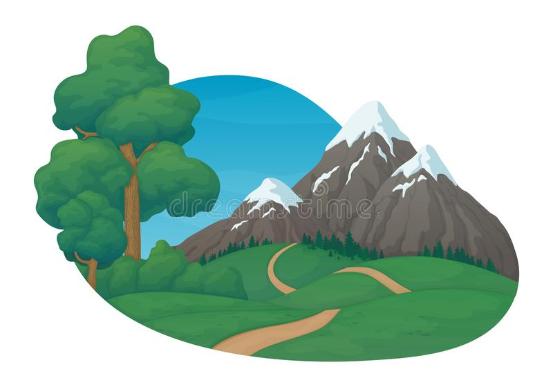 Summer day rural scene. Green meadows and hills, dirt road, pine trees and bushes. Snow covered mountains, spruce forest. Summer day rural scene. Green meadows royalty free illustration