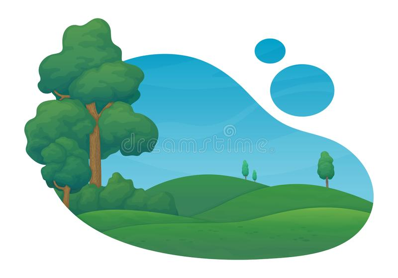 Summer day scene. Green meadows and hills with pine trees and bushes. Blue sky with clouds in the background. Summer day rural scene. Green meadows and hills vector illustration