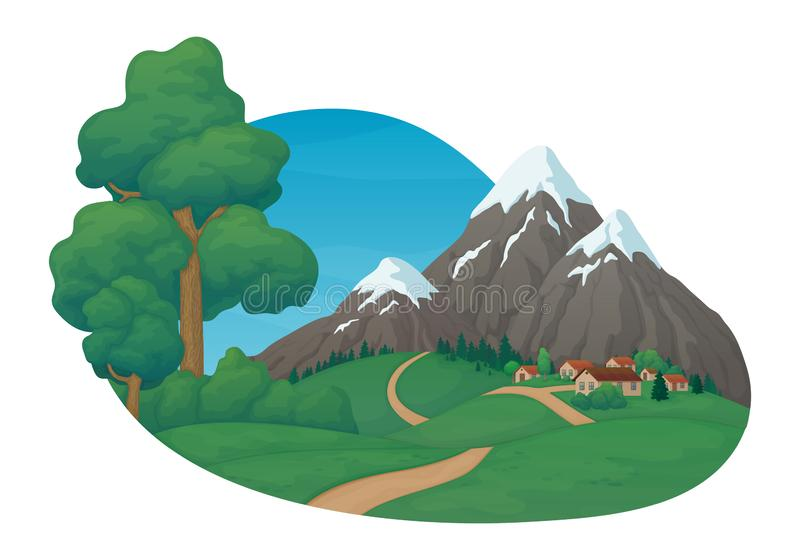 Summer day rural scene. Small village with green meadows and hills, dirt road, pine trees and bushes. Snow covered mountains, spruce forest and blue sky with vector illustration