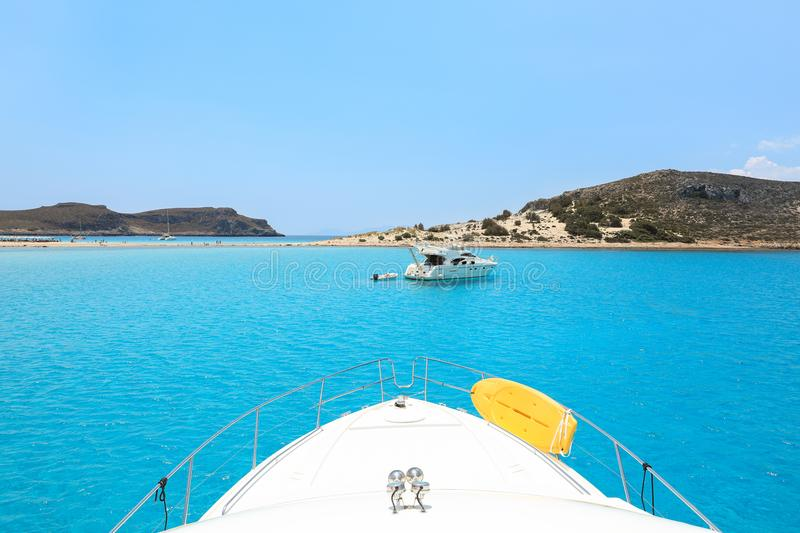 Summer day Simos beach, Elafonisos island, Peloponnese, Greece, June 2018. View from the yacht. stock photography