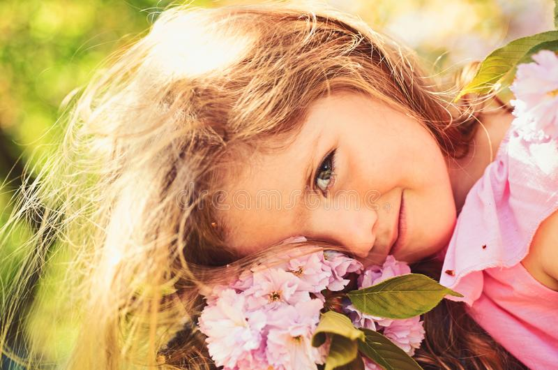 Summer day. Small child. Natural beauty. Childrens day. Springtime. weather forecast. Summer girl fashion. Happy royalty free stock photo