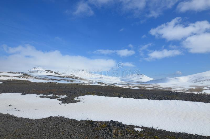 A Summer Day on Snaefellsjokull Glacier in Iceland royalty free stock photos