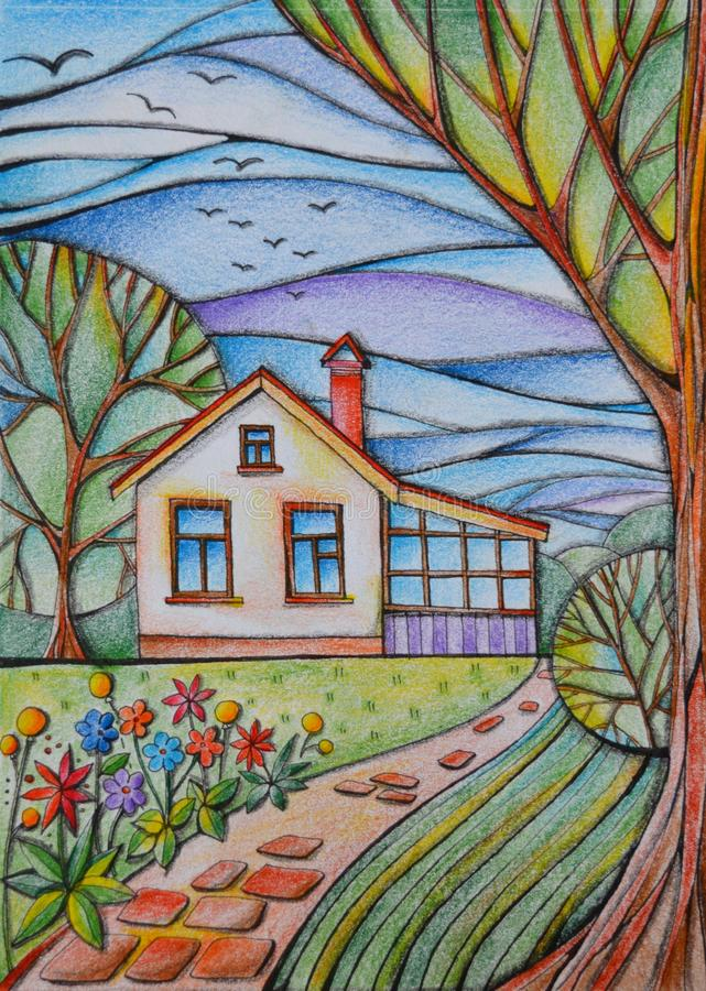 Summer day in village. Small country house in the garden with flowers, trees and paved path. Drawing by colored pencils royalty free illustration