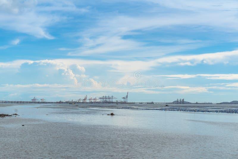 Summer daytime seascape of sriracha, Chonburi, Thailand.  stock image