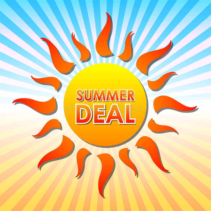 Summer deal in sun over rays royalty free illustration