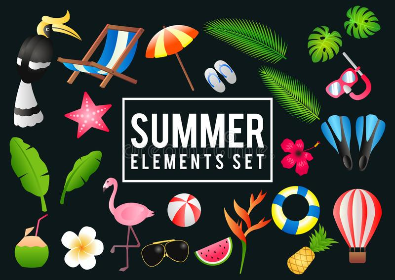 Summer decorative element with its symbol,modern and fashionable design. Vector illustration vector illustration