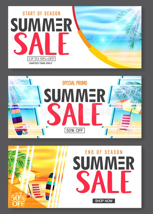 Free Summer Design Banner With 3D Realistic Beach Resort And Seashore Seascape View With Palm Leaves Royalty Free Stock Photos - 141628348