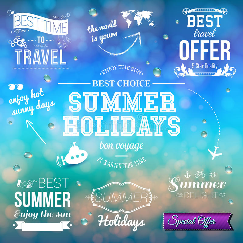 Summer design on blurred background. Set of typographic labels f. Or summer holidays vector illustration