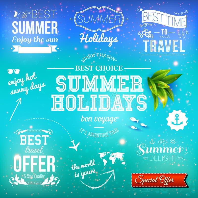 Summer design. Set of typographic labels for summer holidays. Vector illustration. Summer design. Set of typographic labels for summer holidays stock illustration
