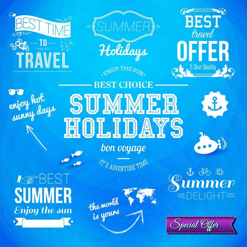 Summer design. Set of typographic labels for summer holidays. Vector illustration. Summer design. Set of typographic labels for summer holidays vector illustration