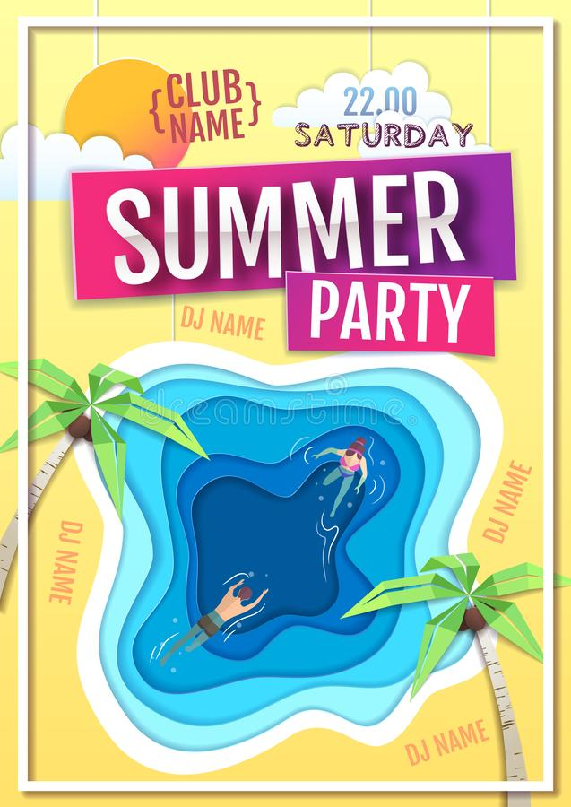 Summer disco party poster with blue lagoon. Paper cut out art style design. Vector ilustration vector illustration