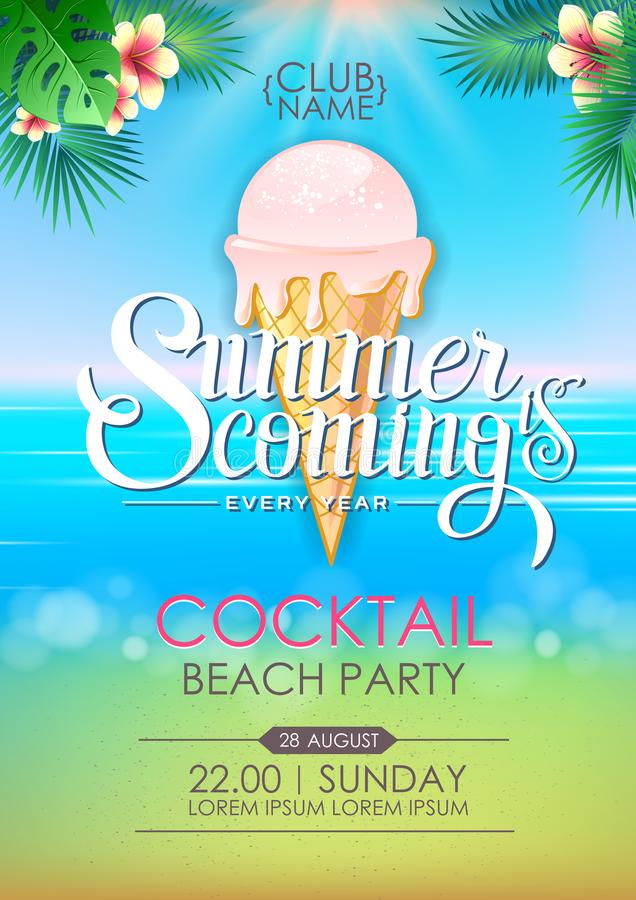Summer disco poster cocktail beach party. Lettering poster summer is coming royalty free illustration