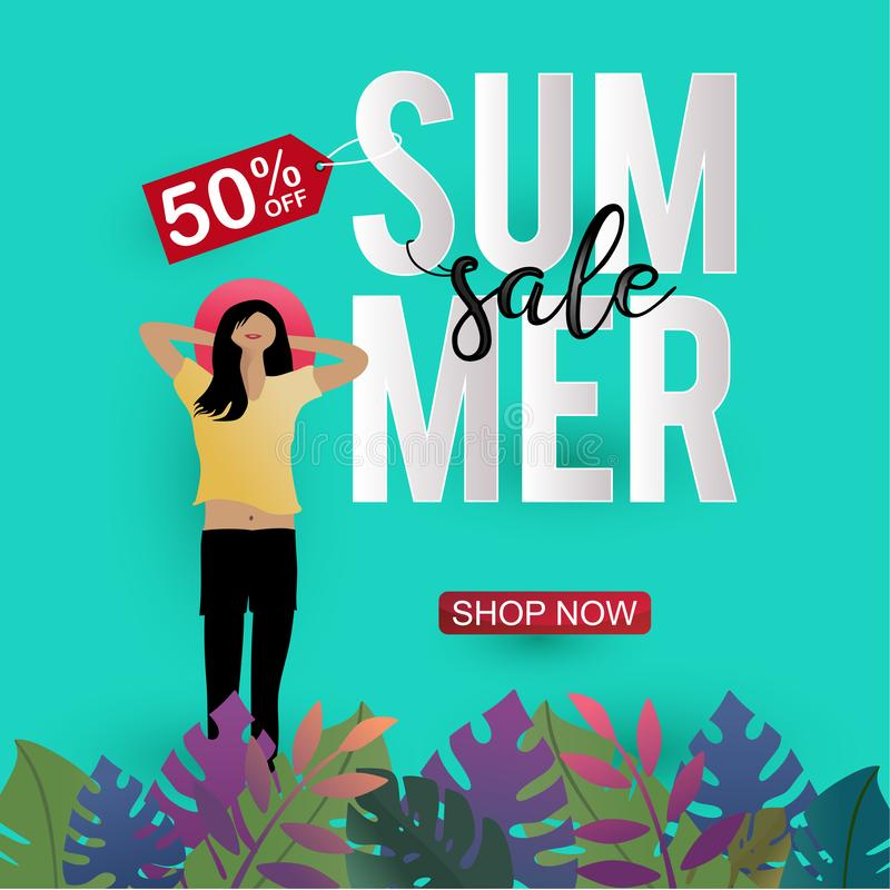 Summer discount banner template. Sale flyer with young girl paper cut art 3d design royalty free illustration